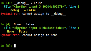 can't assign things to __debug__ or None